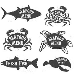 Seafood menu labels vector