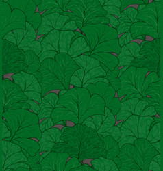 Seamless pattern of interwoven green maple leaves vector