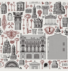 seamless pattern on theme old architecture vector image