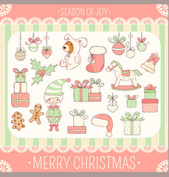 set of cute christmas party icons in retro style vector image