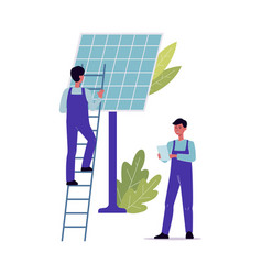 solar panel maintenance and repair workers vector image
