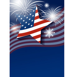 Star and usa flag with fireworks design vector