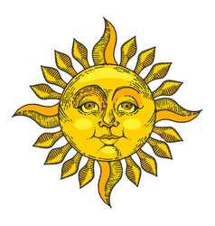 sun with face color sketch engraving style vector image