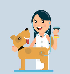 the doctor examines the dog vector image