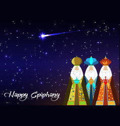 three wise men christmas happy epiphany vector image