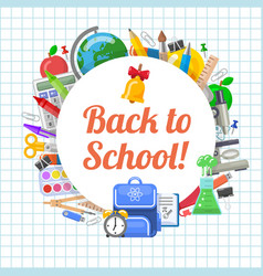 time to back to school objects round composition vector image