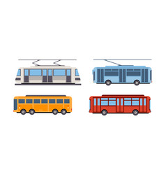 trolley bus tram bus public city transportation vector image