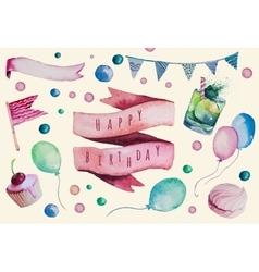 Watercolor happy birthday set hand drawn vintage vector