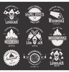 Woodworks Monochrome Emblems vector