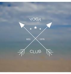Yoga club logo on blurry photo of sea vector image