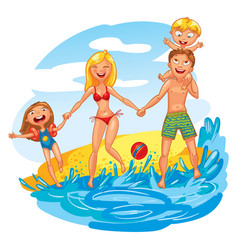 young family with two kids on vacation vector image