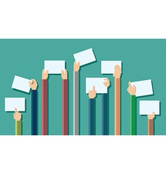 Flat design of hands holding paper with copy space vector image vector image
