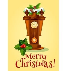 New Year greeting card with clock and pine tree vector image vector image
