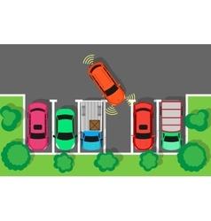 Parking Top View Web Banner in Flat Design vector image vector image