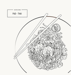 pat thai stir-fried rice noodle local thailand vector image