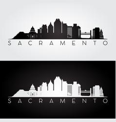sacramento usa skyline and landmarks silhouette vector image