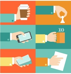 set of hands - clients purchasing work in vector image
