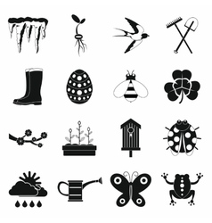 Spring icons set simple style vector image