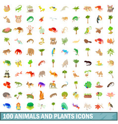 100 animals and plants icons set cartoon style vector image