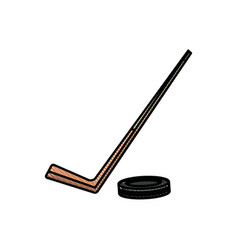 drawing hockey stick and puck sport image vector image