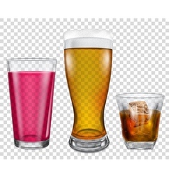 Glasses with drinks vector image vector image