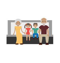 grandparents grandsons family vector image vector image