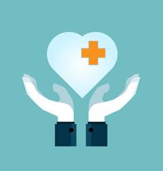 human hands holding heart flat design vector image