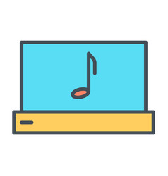 laptop with music note thin line icon pictogram vector image vector image