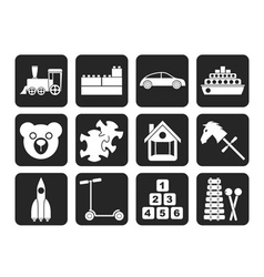 Silhouette Different Kinds of Toys Icons vector image