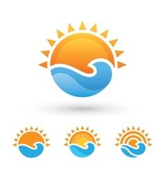 Sun and sea symbol vector image