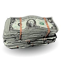 Money Bundle with ones vector image vector image