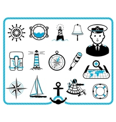 Nautical frame and icons vector image