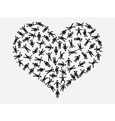 People pictogram heart vector image vector image