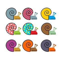 Set of snail with colored shell vector image