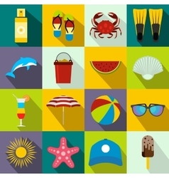 Summer icons set flat style vector image