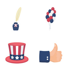 balloons inkwell with a pen uncle sam s hat the vector image