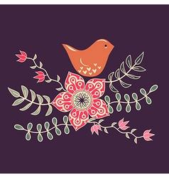 bird in flowers vector image