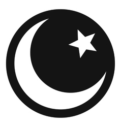 Crescent and star icon simple style vector image