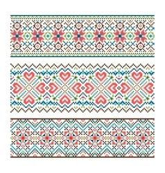 Embroidered handmade stitch Ukraine ethnic pattern vector image vector image