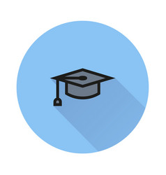 graduation cap symbol icon on round background vector image vector image