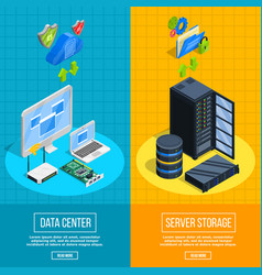 server hardware vertical banners vector image vector image
