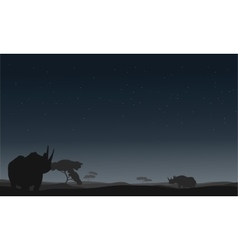 Silhouette of rhino lonely vector image vector image