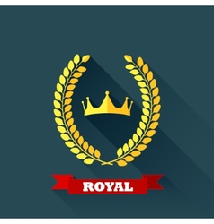 with laurel wreath and crown in flat design with vector image