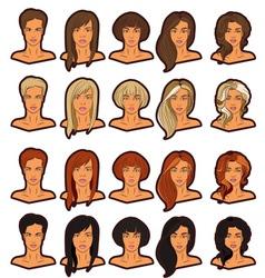 Women portraits icons set vector image