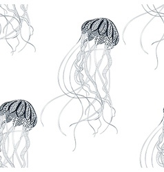 Zentangle stylized Jellyfish seamless pattern Hand vector image vector image