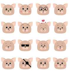 a set of smiles of cat muzzles vector image