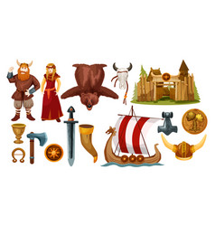Ancient scandinavian and viking culture icons vector