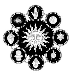 antique sun surrounded esoteric philosophic vector image