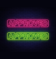 approved neon text design template vector image