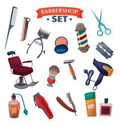 Barber shop cartoon set vector